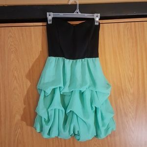 Sea Foam Green & Black Short Prom Dress
